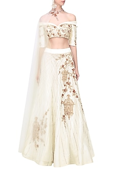 White Embroidered Lehenga Set by Pink Peacock Couture
