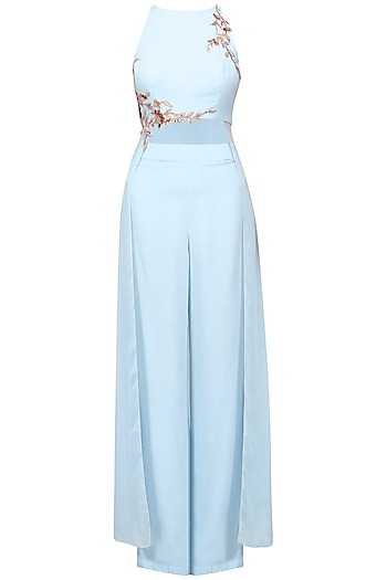 Powder Blue Embroidered Crop Top with Palazzo Pants Set by Pink Peacock Couture