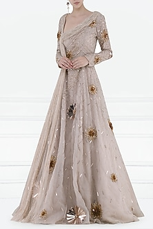 Dusty Pink Embroidered Drape Gown by Pink Peacock Couture
