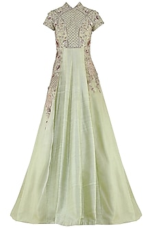 Dusty Green Embroidered Gown by Pink Peacock Couture