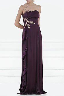 Purple Embroidered Ruffle Gown by Pink Peacock Couture