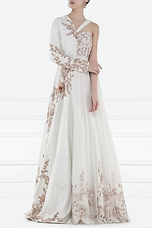 Ivory Embroidered Drape Anarkali Gown by Pink Peacock Couture