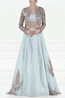 Light Blue Embroidered Lehenga Set with Jacket by Pink Peacock Couture