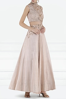 Baby Pink Embroidered Cutout Gown by Pink Peacock Couture