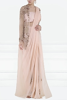 Peach Embroidered Pre-Stitched Saree with Bustier and Jacket by Pink Peacock Couture
