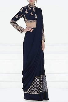 Navy Blue Embroidered Pre-Stitched Saree with Blouse by Pink Peacock Couture