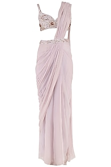 Lilac Embroidered Pre-Stitched Saree with Blouse by Pink Peacock Couture