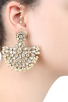 Gold Plated Cresent Moon Earrings by Purab Paschim by Ankit Khullar
