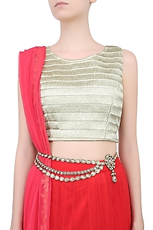 Gold Plated Tear Drop Waistbelt by Purab Paschim by Ankit Khullar