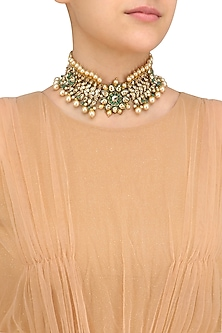 Gold Plated Golden Shadow Swarovski Crystal and Pearl Choker Necklace by Purab Paschim by Ankit Khullar