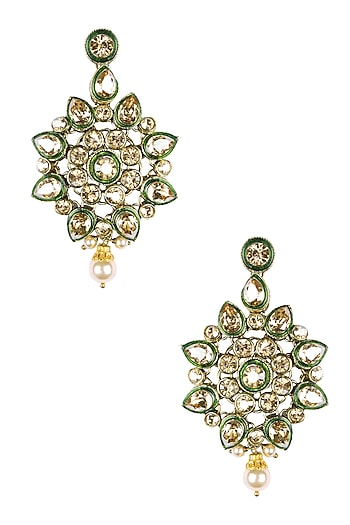 Gold Plated Golden Shadow Swarovski Crystals Flower Earrings by Purab Paschim by Ankit Khullar