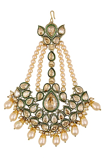 Gold Plated Golden Shadow Swarovski Crystals and Pearls Passa by Purab Paschim by Ankit Khullar