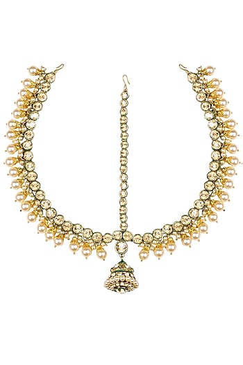 Gold Plated Golden Shadow Swarovski Crystals and Pearls Borla Matha Patti by Purab Paschim by Ankit Khullar