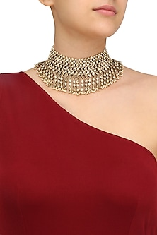 Gold Plated Golden Shadow Swarovski Crystals Necklace by Purab Paschim by Ankit Khullar