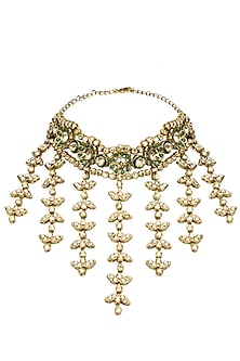 Gold Plated Golden Shadow Swarovski Crystals and Green Stone Necklace by Purab Paschim by Ankit Khullar