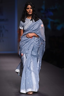 Sky Blue and Ivory Handwoven Rain Drops Saree by Prama by Pratima Pandey