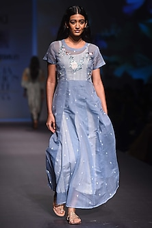 Sky Blue and Ivory Embroidered Kurta with Anarkali and Palazzo Pants Set by Prama by Pratima Pandey