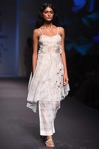 White Checkered Dress with Palazzo Pants by Prama by Pratima Pandey