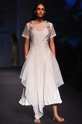 Ivory Embroidered Drape Dress by Prama by Pratima Pandey