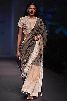 Olive To Beige Ombre Embroidered Saree and Blouse by Prama by Pratima Pandey