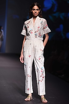 Ivory Embroidered Jumpsuit by Prama by Pratima Pandey