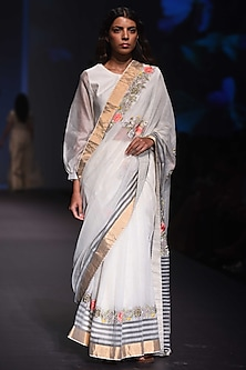 Black and White Checkered Embroidered Saree and Blouse by Prama by Pratima Pandey