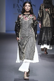 Black and Gold Lines Embroidered Kurta with Anarkali and Palazzo Pants Set by Prama by Pratima Pandey
