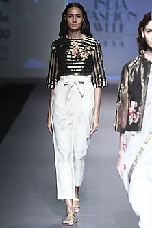 Black and Gold Lines Embroidered Crop Top with Crop Pants by Prama by Pratima Pandey