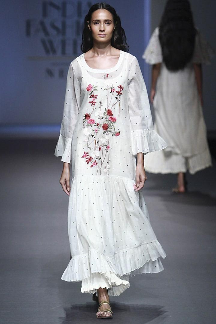 White Embroidered Gathered Dress with Anarkali by Prama by Pratima Pandey