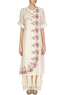 Ivory French Knots Embroidered Kurta, Crushed Anarkali and Palazzo Pants Set by Prama by Pratima Pandey