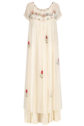 Ivory and Red Floral Convent Embroidered Long Dress and Crushed Anarkali Set by Prama by Pratima Pandey