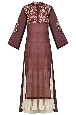 Maroon Embroidered Kurta With Anarkali And Palazzo Pants Set by Prama by Pratima Pandey