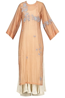 Peach Embroidered Kurta With Anarkali And Palazzo Pants Set by Prama by Pratima Pandey