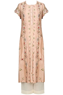 Peach Floral Embroidered Kurta With Anarkali And Palazzo Pants Set by Prama by Pratima Pandey