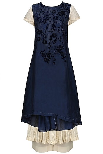 Midnight Blue Embroidered Wrap Dress With Anarkali And Palazzo Pants Set by Prama by Pratima Pandey