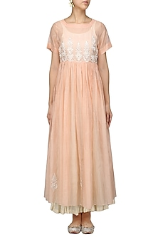 Baby Pink Embroidered Kurta With Anarkali And Palazzo Pants Set by Prama by Pratima Pandey