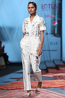 Ivory Embroidered & Printed Dress by Prama by Pratima Pandey