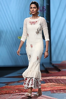 White Embroidered Sheer Dress With Inner by Prama by Pratima Pandey