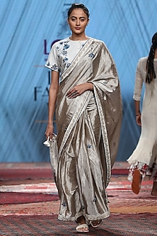 Silver & White Embroidered Saree Set by Prama by Pratima Pandey