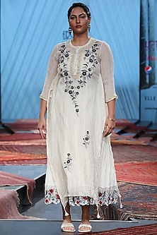 White Embroidered Sheer Kurta With Inner by Prama by Pratima Pandey