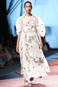 White Embroidered Dress With Painted Inner by Prama by Pratima Pandey