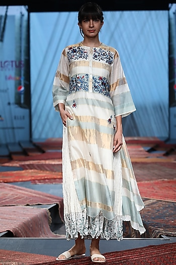 Multi Colored Embroidered Dress With Inner by Prama by Pratima Pandey
