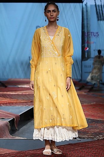 Yellow Embroidered Dress With Inner by Prama by Pratima Pandey