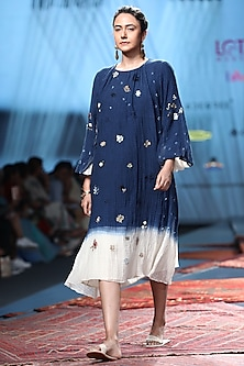 Blue Ombre Sheer Dress With Embroidery by Prama by Pratima Pandey