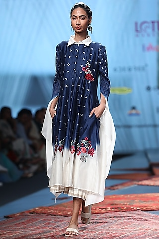Blue Embroidered Ombre Sheer Dress by Prama by Pratima Pandey