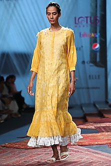 Yellow Embroidered Dress With Printed Inner by Prama by Pratima Pandey
