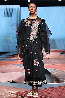 Black Embroidered Kurta With Palazzo Pants & Inner by Prama by Pratima Pandey