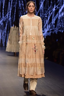 Beige Embroidered Tunic With Inner & Palazzo Pants by Prama by Pratima Pandey