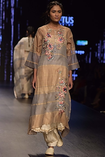 Multi Colored Embroidered Kurta Set With Inner by Prama by Pratima Pandey