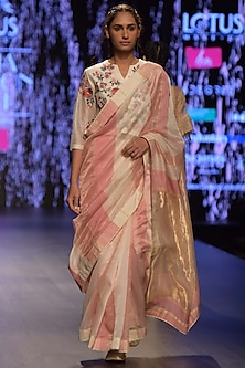 Pink & Ivory Embroidered Saree Set by Prama by Pratima Pandey